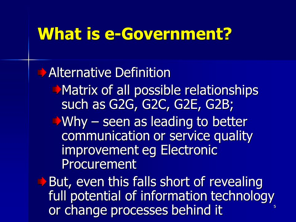 5 What is e-Government.