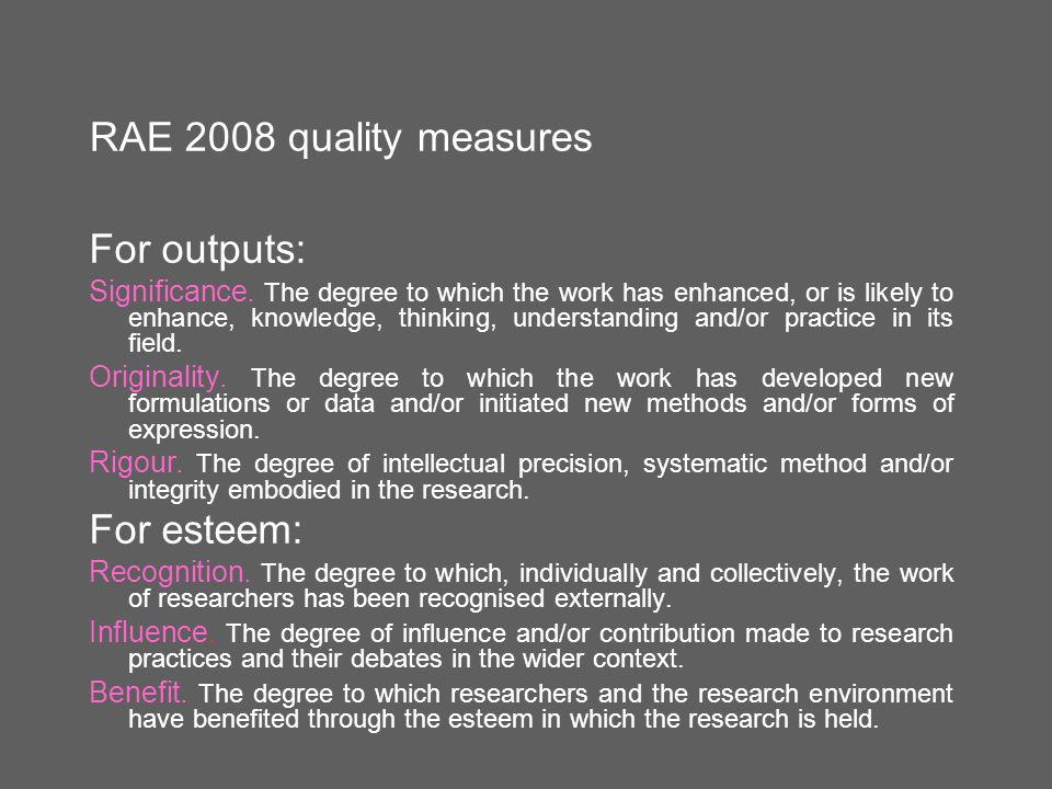 RAE 2008 quality measures For outputs: Significance. The degree to which the work has enhanced, or is likely to enhance, knowledge, thinking, understa