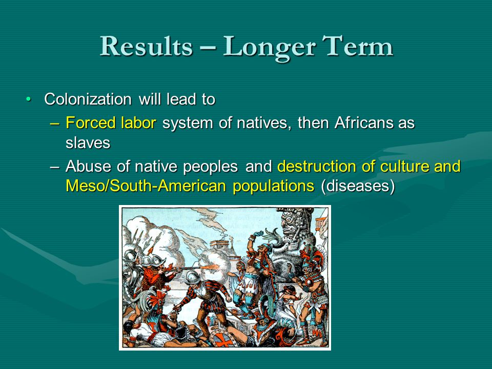 Results – Longer Term Colonization will lead toColonization will lead to –Forced labor system of natives, then Africans as slaves –Abuse of native peo