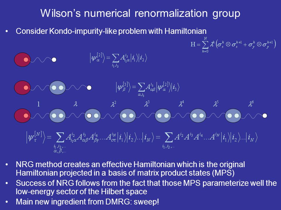 Wilson's numerical renormalization group Consider Kondo-impurity-like problem with Hamiltonian NRG method creates an effective Hamiltonian which is th