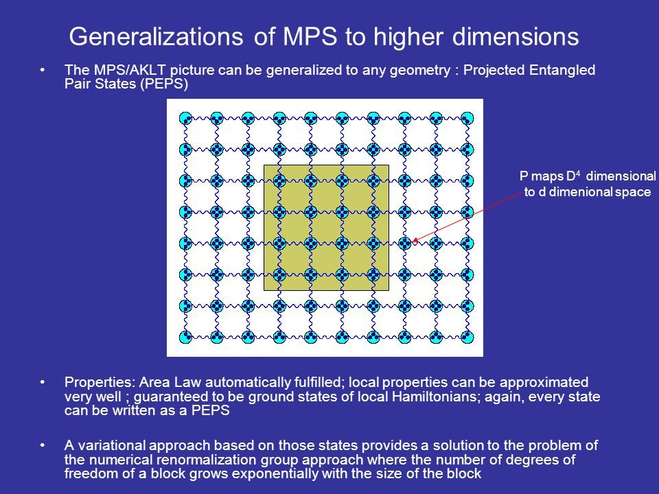 Generalizations of MPS to higher dimensions The MPS/AKLT picture can be generalized to any geometry : Projected Entangled Pair States (PEPS) Propertie