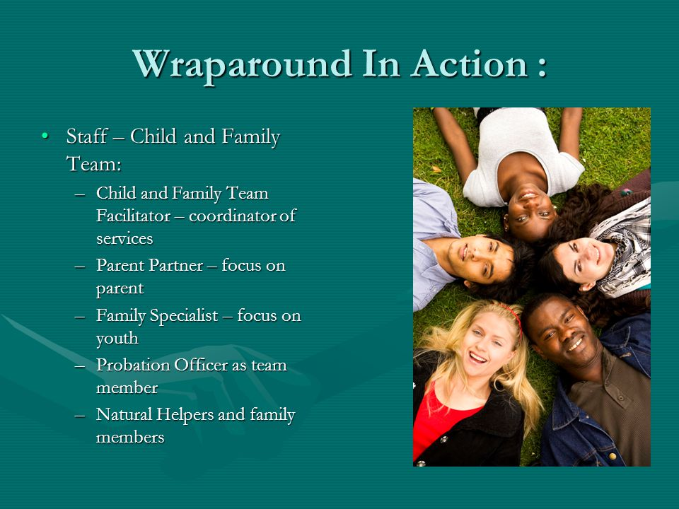 Wraparound In Action : Staff – Child and Family Team:Staff – Child and Family Team: –Child and Family Team Facilitator – coordinator of services –Parent Partner – focus on parent –Family Specialist – focus on youth –Probation Officer as team member –Natural Helpers and family members