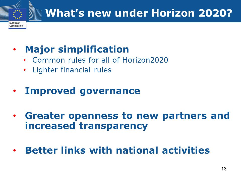 What's new under Horizon 2020? Major simplification Common rules for all of Horizon2020 Lighter financial rules Improved governance Greater openness t