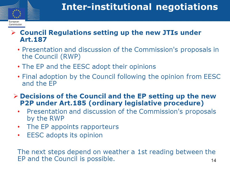  Council Regulations setting up the new JTIs under Art.187 Presentation and discussion of the Commission's proposals in the Council (RWP) The EP and