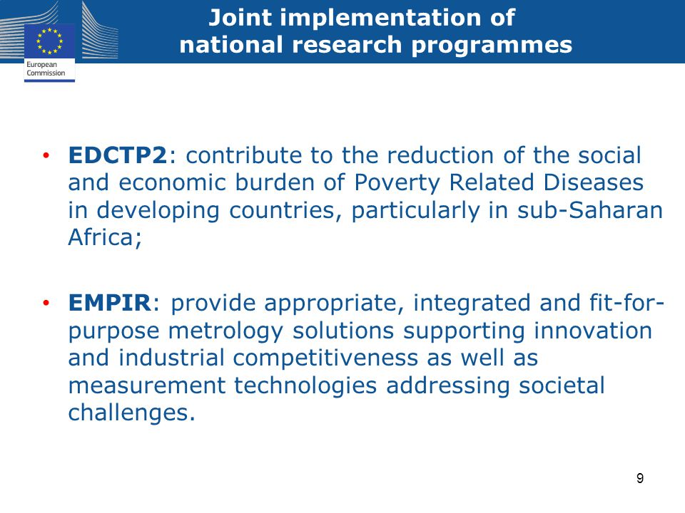 Joint implementation of national research programmes EDCTP2: contribute to the reduction of the social and economic burden of Poverty Related Diseases