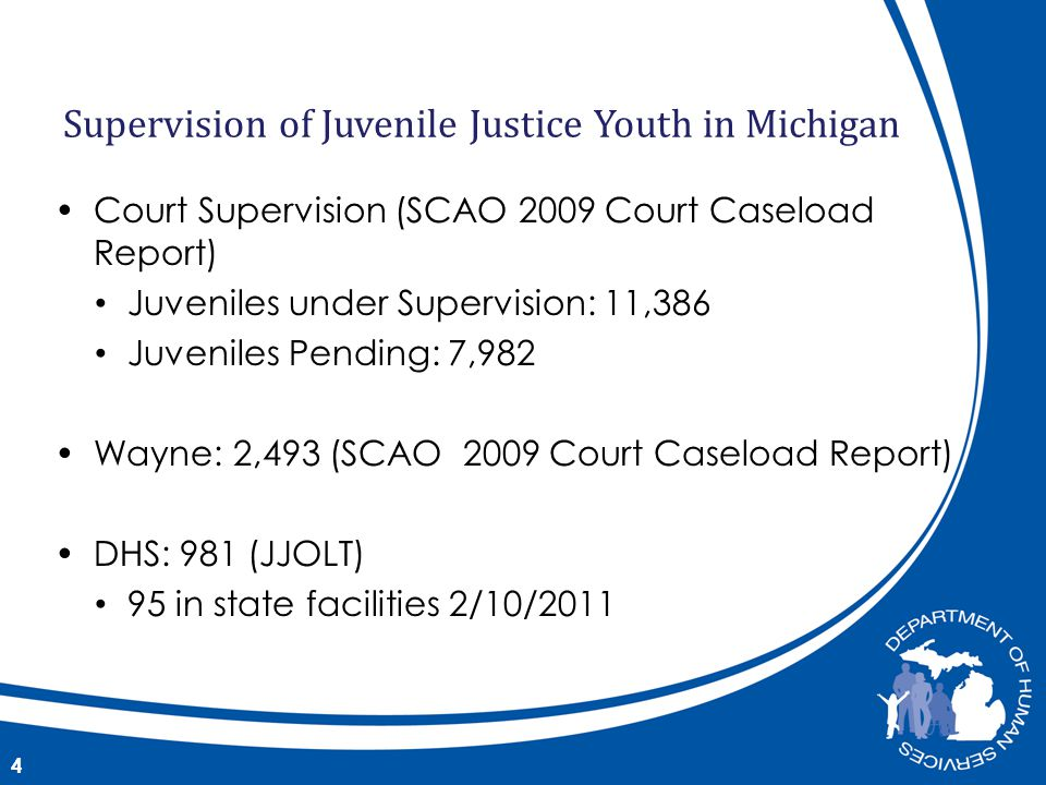 Court Supervision (SCAO 2009 Court Caseload Report) Juveniles under Supervision: 11,386 Juveniles Pending: 7,982 Wayne: 2,493 (SCAO 2009 Court Caseload Report) DHS: 981 (JJOLT) 95 in state facilities 2/10/ Supervision of Juvenile Justice Youth in Michigan