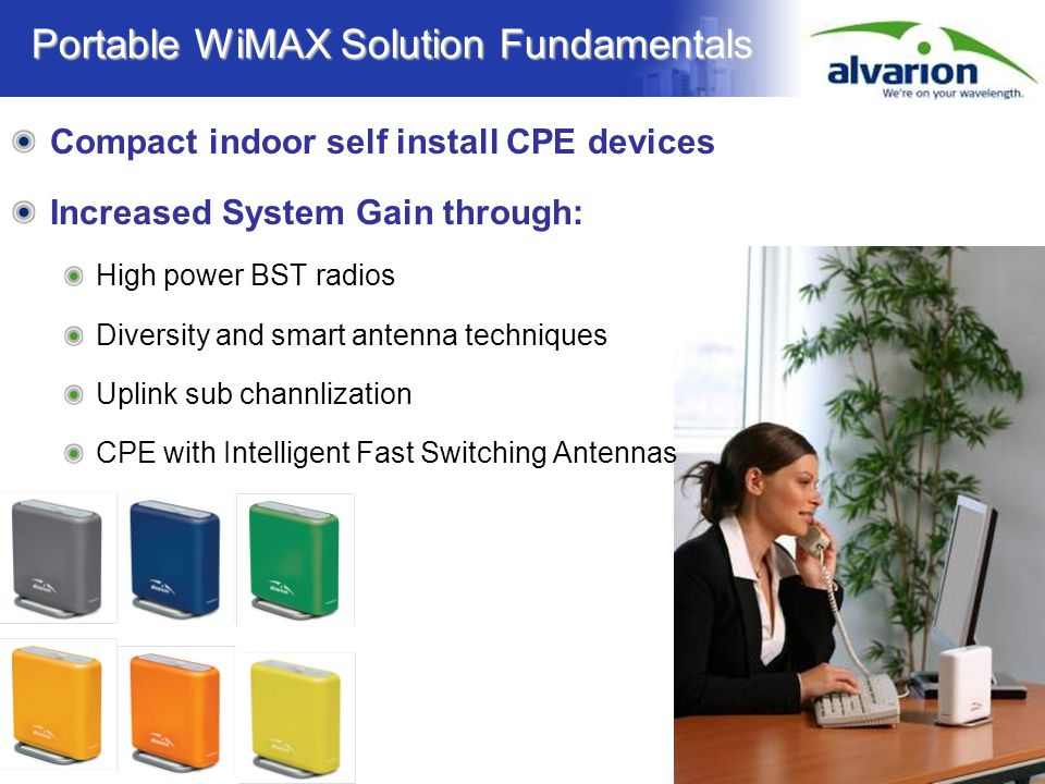 Confidential Information Portable WiMAX Solution Fundamentals Compact indoor self install CPE devices Increased System Gain through: High power BST ra