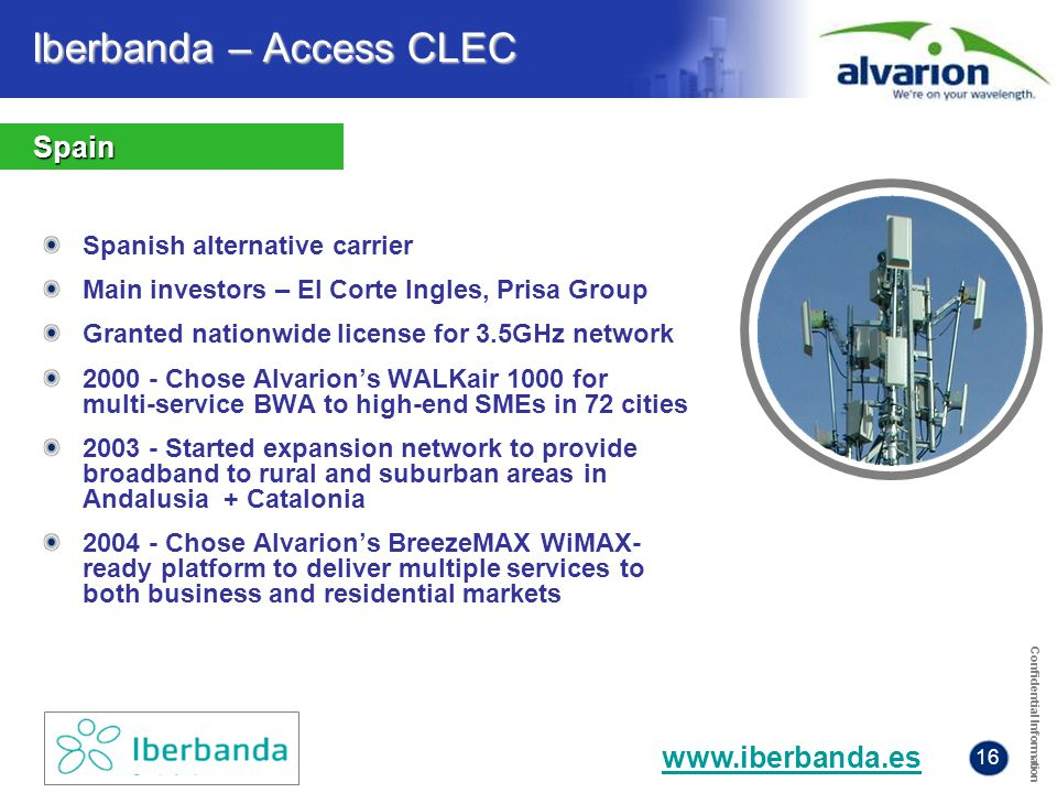 Confidential Information 16 Spanish alternative carrier Main investors – El Corte Ingles, Prisa Group Granted nationwide license for 3.5GHz network 20