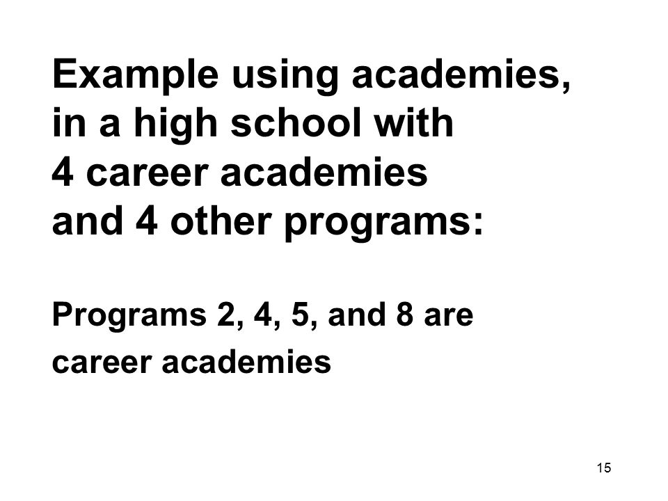 15 Example using academies, in a high school with 4 career academies and 4 other programs: Programs 2, 4, 5, and 8 are career academies