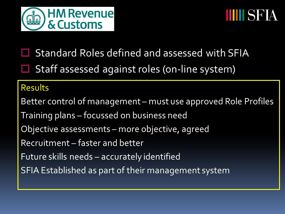  Standard Roles defined and assessed with SFIA  Staff assessed against roles (on-line system) Results Better control of management – must use approved Role Profiles Training plans – focussed on business need Objective assessments – more objective, agreed Recruitment – faster and better Future skills needs – accurately identified SFIA Established as part of their management system