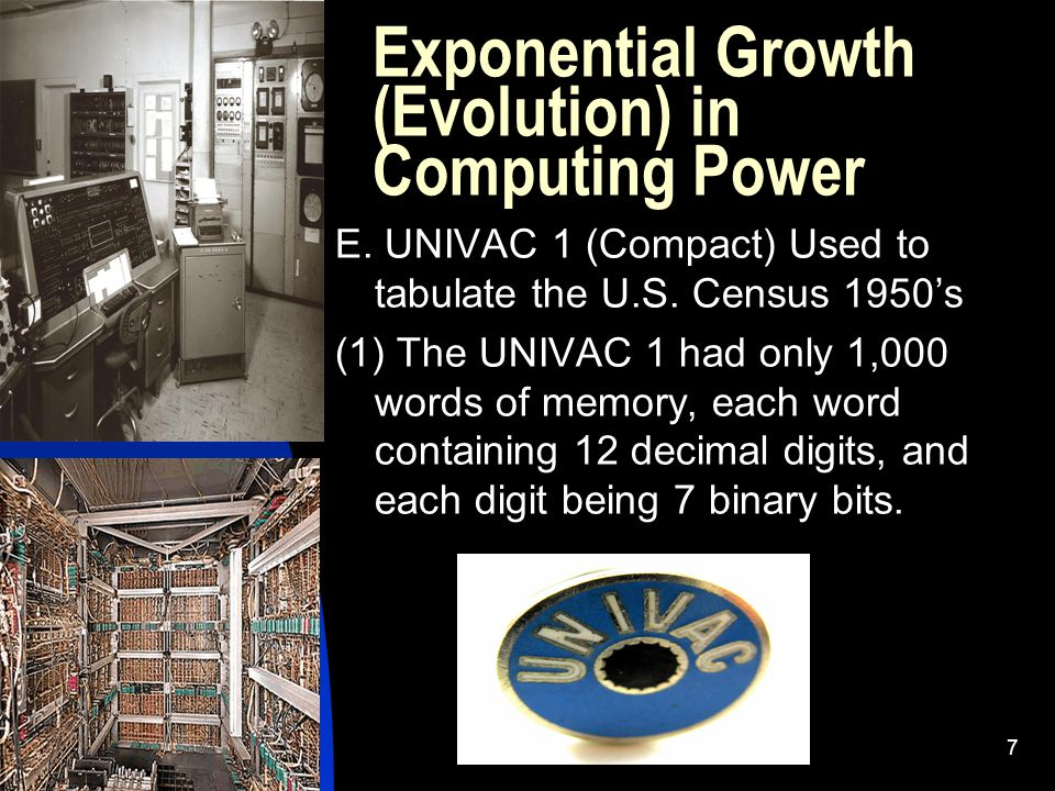 Exponential Growth (Evolution) in Computing Power E.