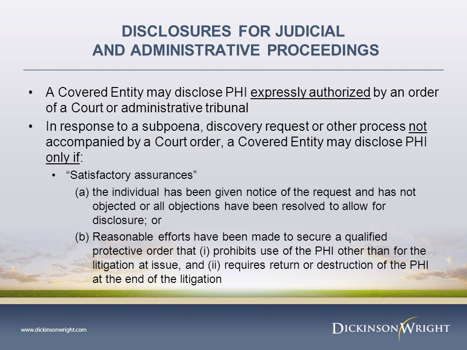 DISCLOSURES FOR JUDICIAL AND ADMINISTRATIVE PROCEEDINGS Corrective actions imposed by the DHHS Office for Civil Rights: What did the hospital do wrong.