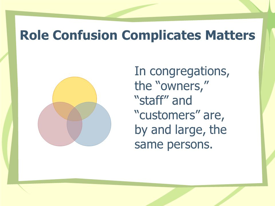 """Role Confusion Complicates Matters In congregations, the """"owners,"""" """"staff"""" and """"customers"""" are, by and large, the same persons."""