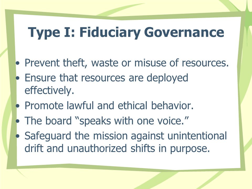 Type I: Fiduciary Governance Prevent theft, waste or misuse of resources.