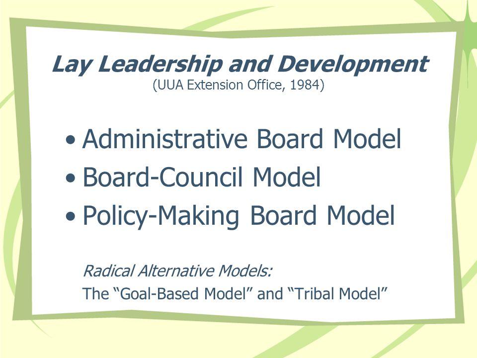 Lay Leadership and Development (UUA Extension Office, 1984) Administrative Board Model Board-Council Model Policy-Making Board Model Radical Alternati