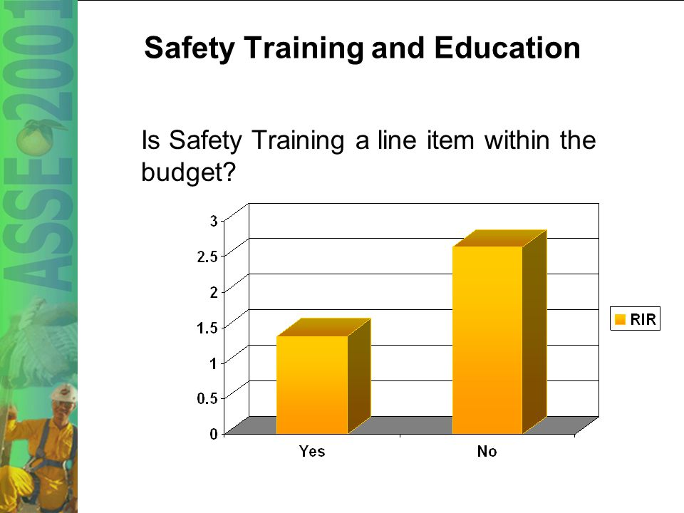 32 Safety Training and Education New worker safety orientation Follow-up safety training Tool box safety meetings