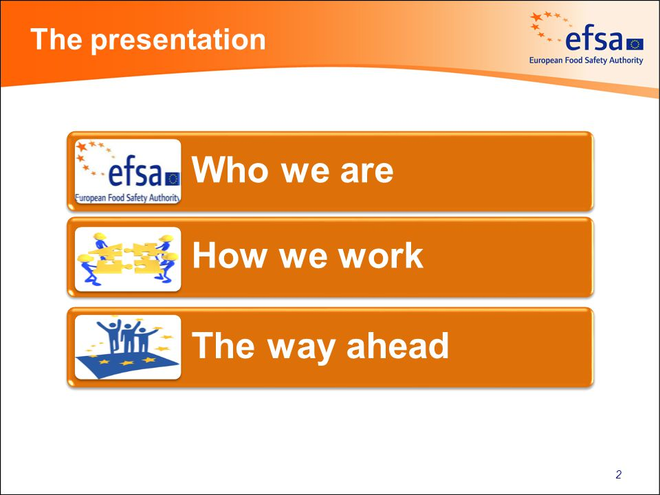The presentation Who we are How we work The way ahead 2