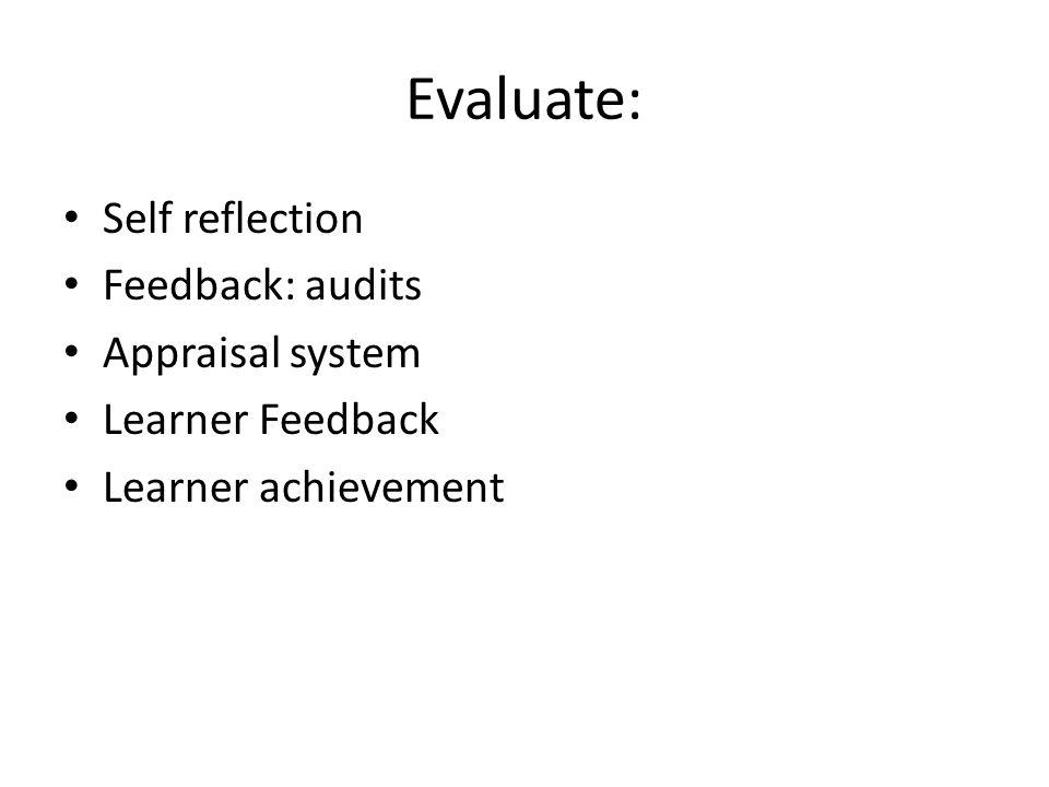 Evaluate: Self reflection Feedback: audits Appraisal system Learner Feedback Learner achievement