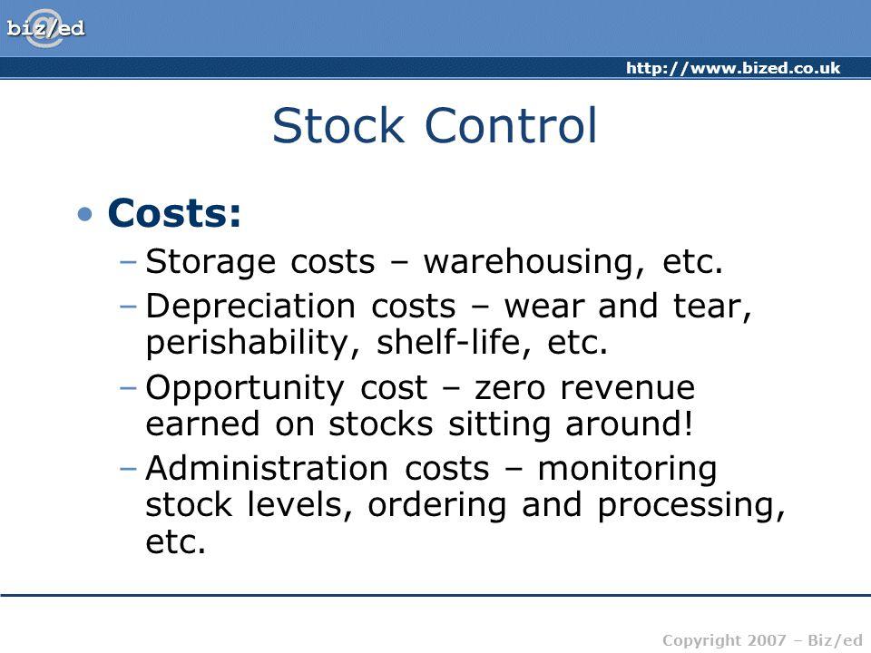 http://www.bized.co.uk Copyright 2007 – Biz/ed Stock Control Costs: –Storage costs – warehousing, etc.