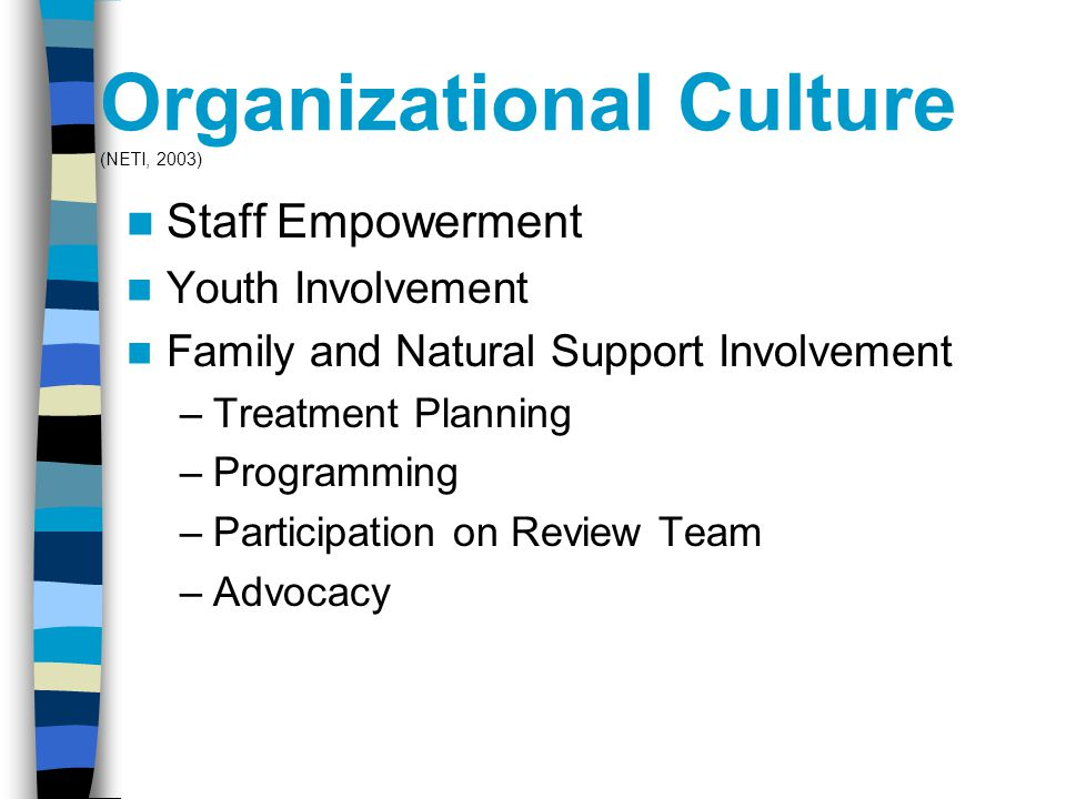 Organizational Culture (NETI, 2003) Staff Empowerment Youth Involvement Family and Natural Support Involvement –Treatment Planning –Programming –Participation on Review Team –Advocacy