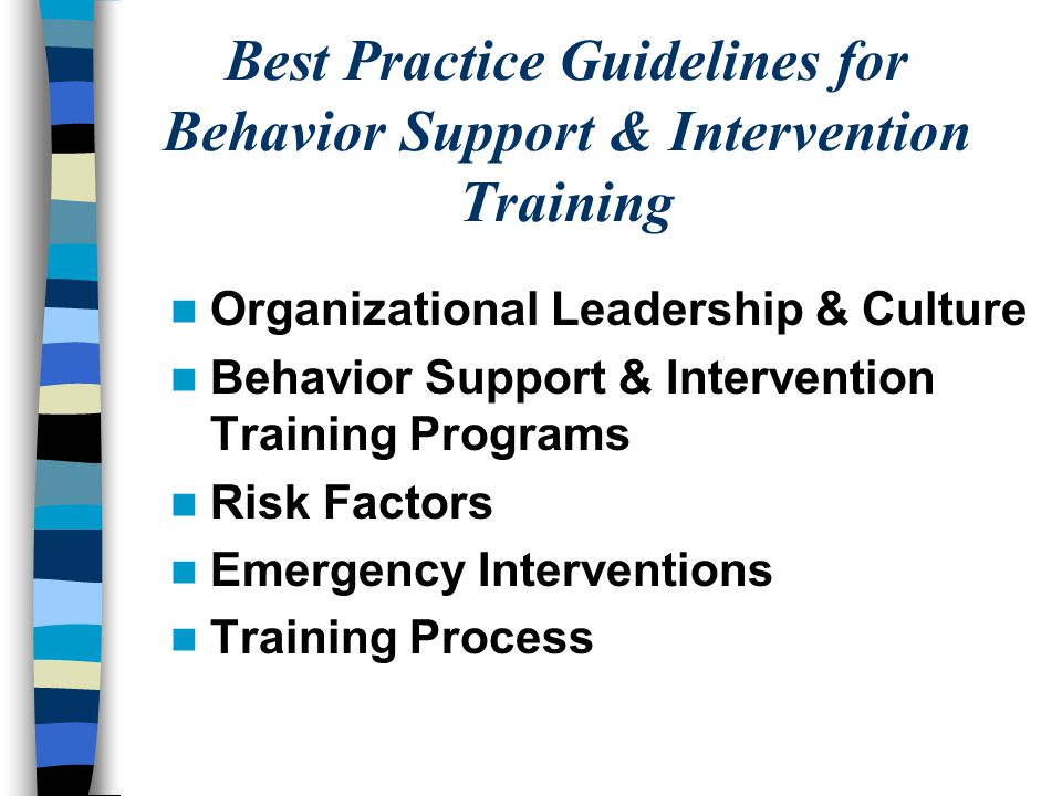 Best Practice Guidelines for Behavior Support & Intervention Training Organizational Leadership & Culture Behavior Support & Intervention Training Programs Risk Factors Emergency Interventions Training Process