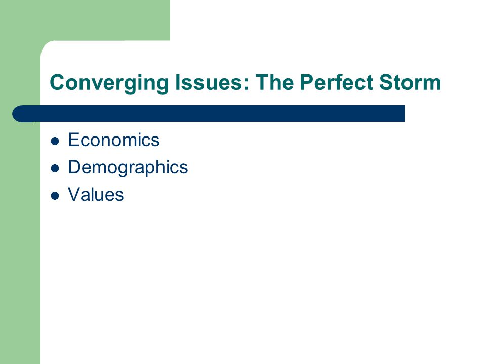 Converging Issues: The Perfect Storm Economics Demographics Values