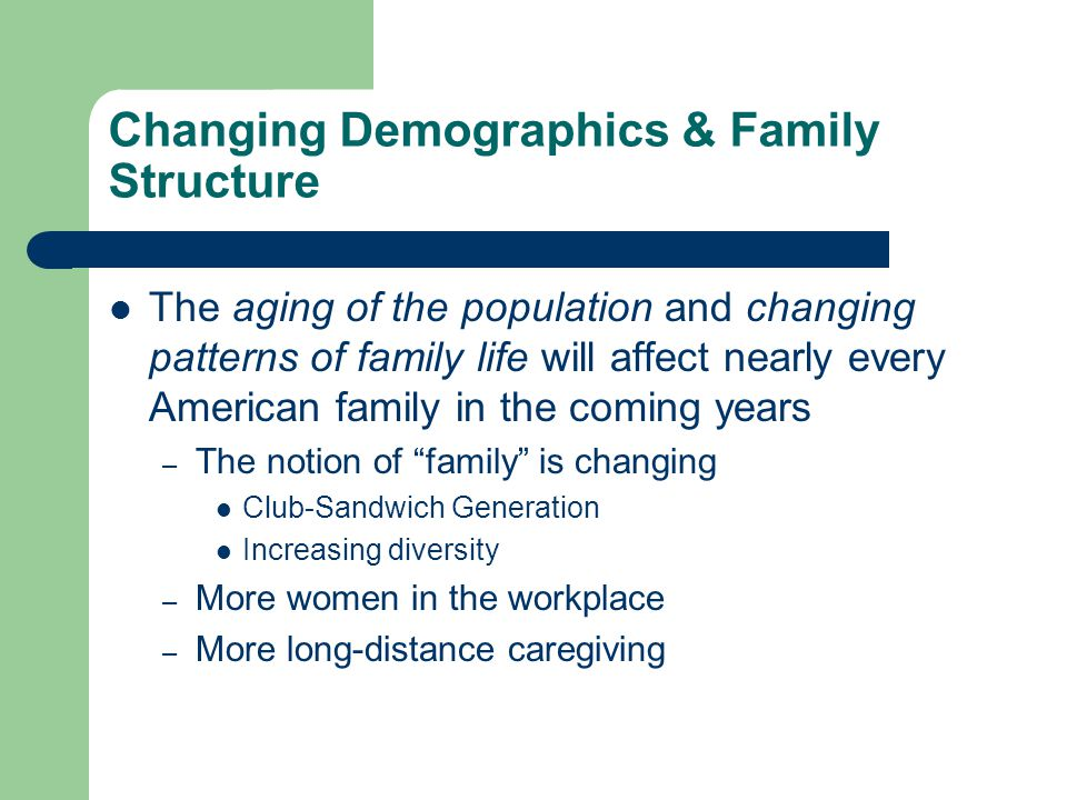 Changing Demographics & Family Structure The aging of the population and changing patterns of family life will affect nearly every American family in
