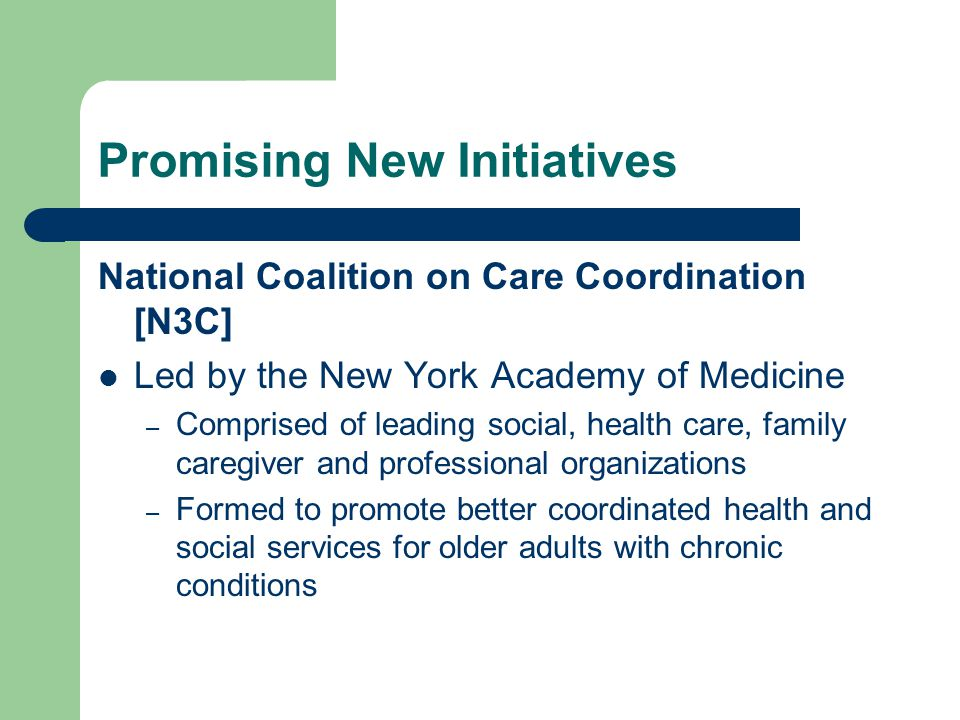 Promising New Initiatives National Coalition on Care Coordination [N3C] Led by the New York Academy of Medicine – Comprised of leading social, health