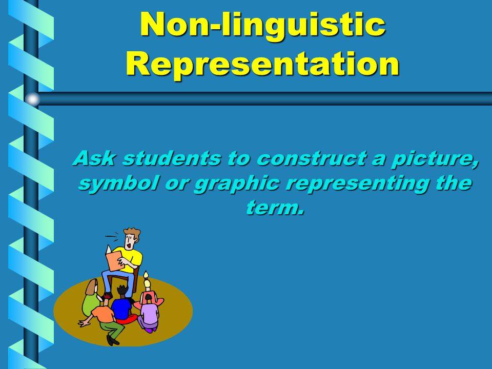 Non-linguistic Representation Ask students to construct a picture, symbol or graphic representing the term. Ask students to construct a picture, symbo