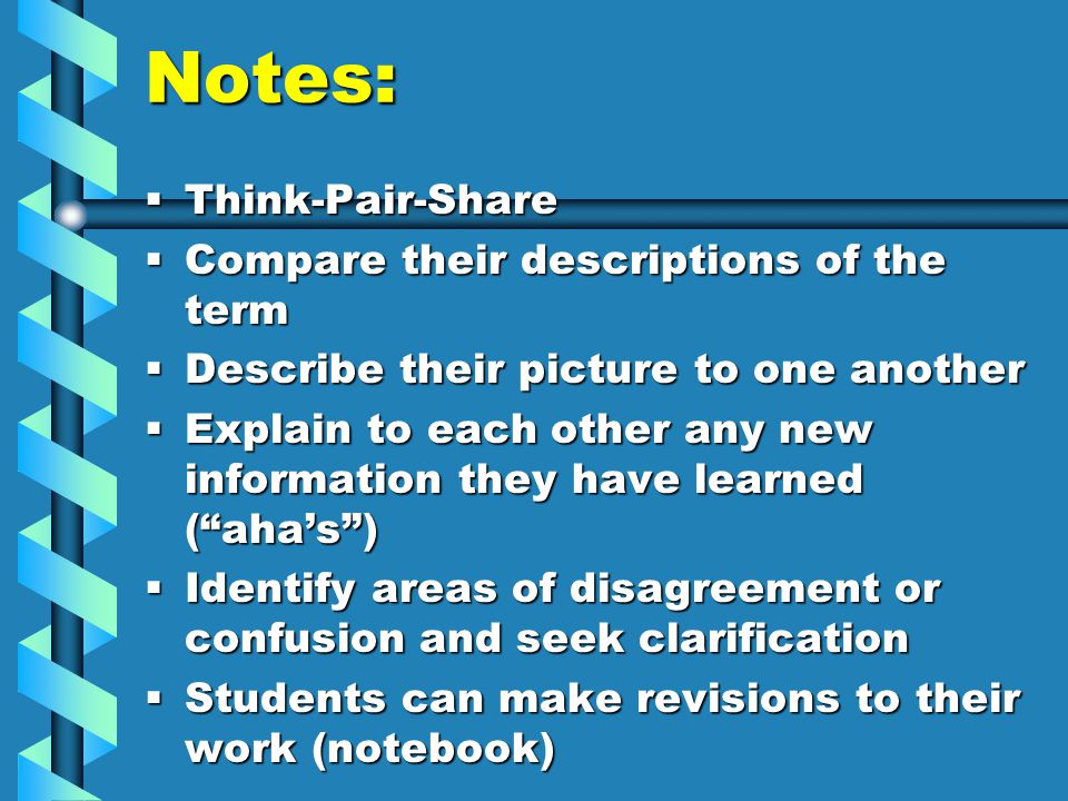 Notes:  Think-Pair-Share  Compare their descriptions of the term  Describe their picture to one another  Explain to each other any new information they have learned ( aha's )  Identify areas of disagreement or confusion and seek clarification  Students can make revisions to their work (notebook)