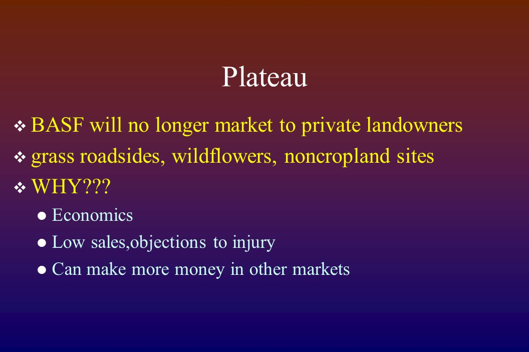 Plateau  BASF will no longer market to private landowners  grass roadsides, wildflowers, noncropland sites  WHY??.