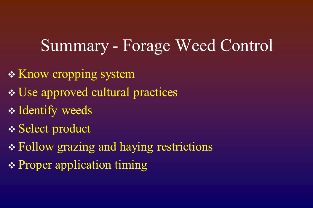 Summary - Forage Weed Control  Know cropping system  Use approved cultural practices  Identify weeds  Select product  Follow grazing and haying restrictions  Proper application timing