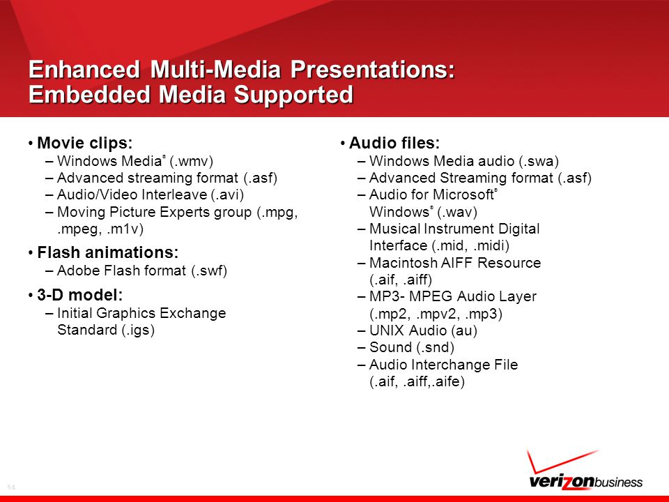 14 Enhanced Multi-Media Presentations: Embedded Media Supported Movie clips: –Windows Media ® (.wmv) –Advanced streaming format (.asf) –Audio/Video In