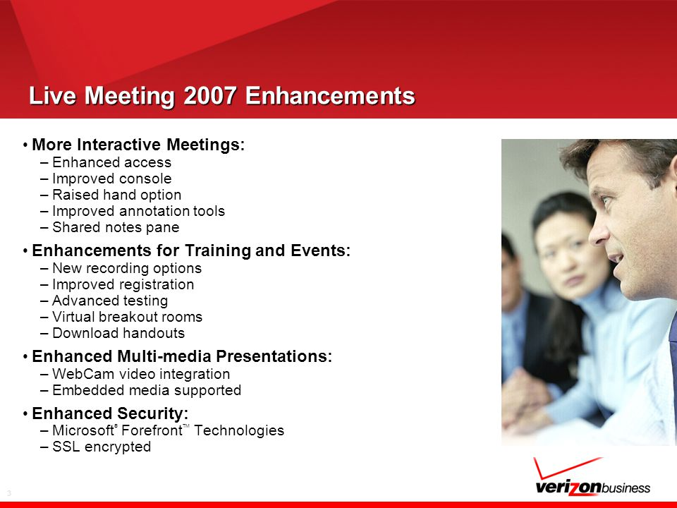 3 Live Meeting 2007 Enhancements More Interactive Meetings: –Enhanced access –Improved console –Raised hand option –Improved annotation tools –Shared