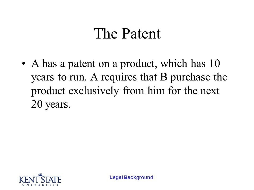 Legal Background The Patent A has a patent on a product, which has 10 years to run.