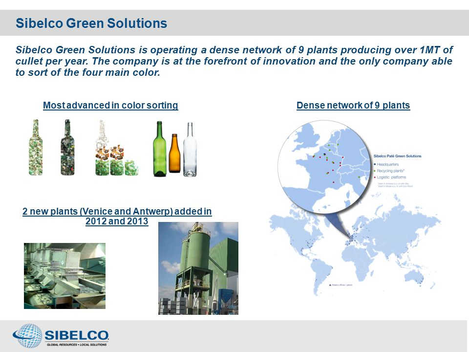 Container glass - the environmental case CulletComments Recyclability Infinite with no loss of material Natural ressources1 T Preservation of natural resources.