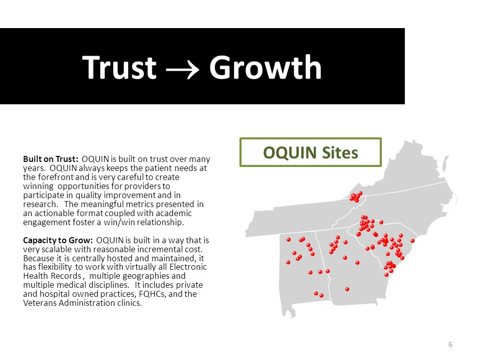 1,646,706 Active Discrete Patient Records 4,874,408 Prescription Records Trust  Growth Built on Trust: OQUIN is built on trust over many years.