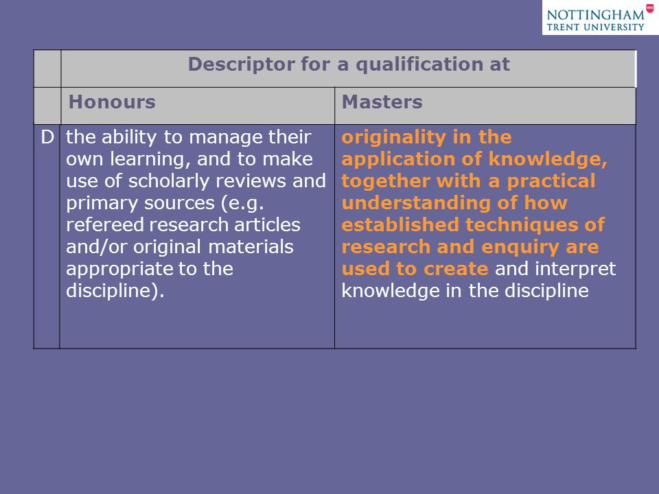 Dthe ability to manage their own learning, and to make use of scholarly reviews and primary sources (e.g.