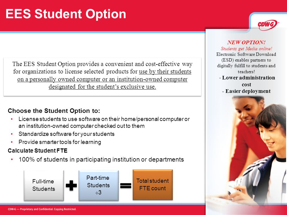 EES Student Option Choose the Student Option to: License students to use software on their home/personal computer or an institution-owned computer checked out to them Standardize software for your students Provide smarter tools for learning Calculate Student FTE 100% of students in participating institution or departments Full-time Students Full-time Students Part-time Students  3 Part-time Students  3 Total student FTE count Total student FTE count + = The EES Student Option provides a convenient and cost-effective way for organizations to license selected products for use by their students on a personally owned computer or an institution-owned computer designated for the student's exclusive use.