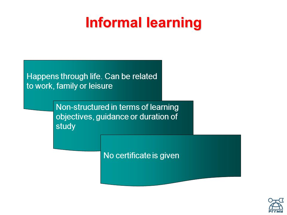 Informal learning Happens through life.