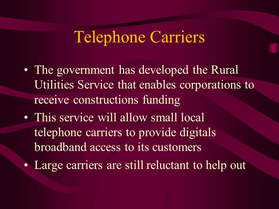 Telephone Carriers The government has developed the Rural Utilities Service that enables corporations to receive constructions funding This service will allow small local telephone carriers to provide digitals broadband access to its customers Large carriers are still reluctant to help out