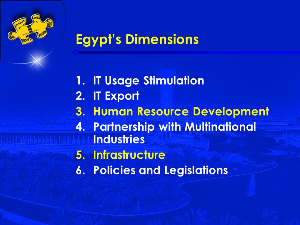 Egypt's Dimensions 1.IT Usage Stimulation 2.IT Export 3.Human Resource Development 4.Partnership with Multinational Industries 5.Infrastructure 6.Policies and Legislations