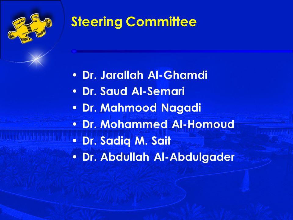 Dr. Jarallah Al-Ghamdi Dr. Saud Al-Semari Dr. Mahmood Nagadi Dr. Mohammed Al-Homoud Dr. Sadiq M. Sait Dr. Abdullah Al-Abdulgader Steering Committee