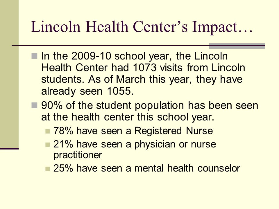 Lincoln Health Center's Impact… In the school year, the Lincoln Health Center had 1073 visits from Lincoln students.