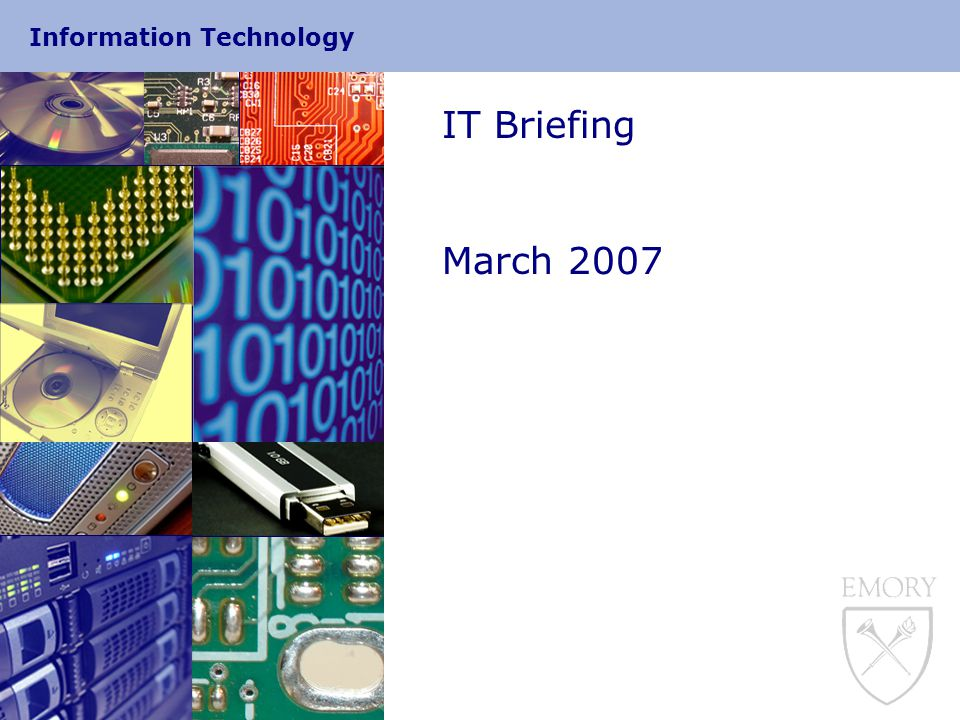 Information Technology Security  End to End encryption  Exchange server to Exchange server connects with TLS connections by default  Client to server encryption  Outlook Anywhere for Outlook clients  No MAPI / RPC calls from Clients to servers  Formerly called RPC over HTTPS  Only supports Outlook 2003, and Outlook 2007  Macintosh connectivity  Entourage uses DAV protocol (HTTPS)  Next version of Entourage supposed to use pure HTTPS