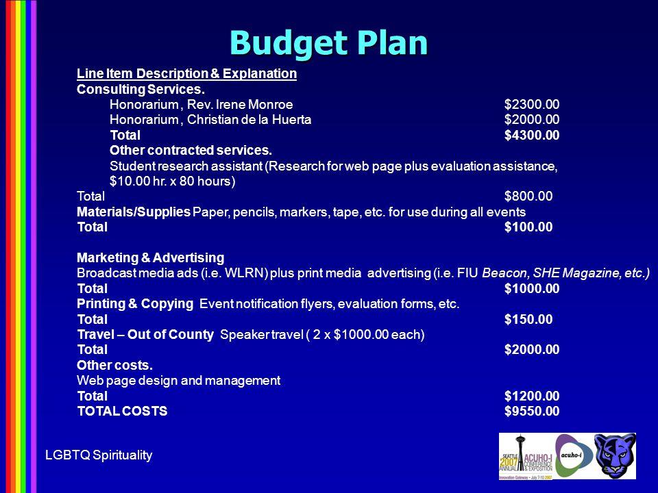 LGBTQ Spirituality Budget Plan Line Item Description & Explanation Consulting Services.