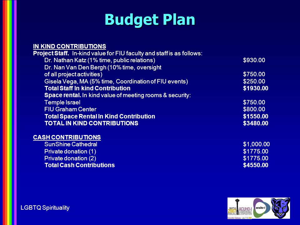 LGBTQ Spirituality Budget Plan IN KIND CONTRIBUTIONS Project Staff.