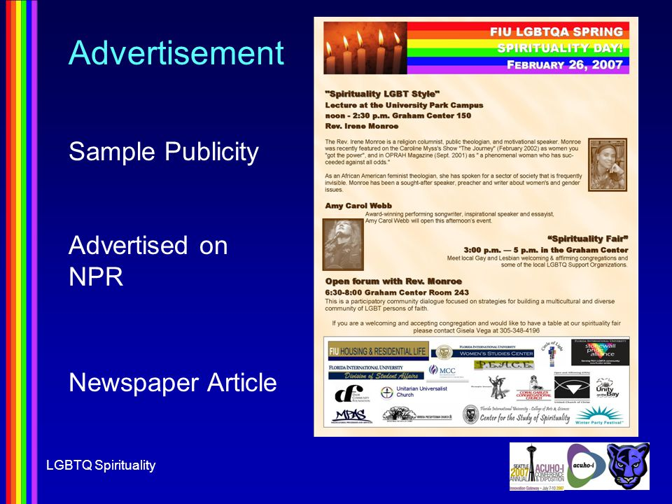 LGBTQ Spirituality Advertisement Sample Publicity Advertised on NPR Newspaper Article