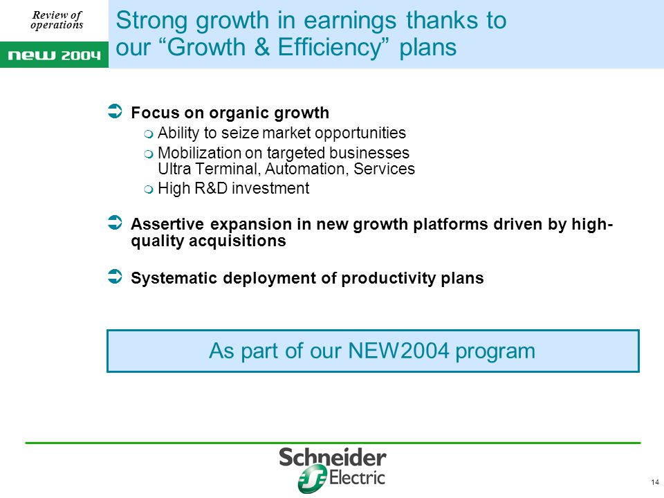 14 Review of operations As part of our NEW2004 program Strong growth in earnings thanks to our Growth & Efficiency plans  Focus on organic growth  Ability to seize market opportunities  Mobilization on targeted businesses Ultra Terminal, Automation, Services  High R&D investment  Assertive expansion in new growth platforms driven by high- quality acquisitions  Systematic deployment of productivity plans
