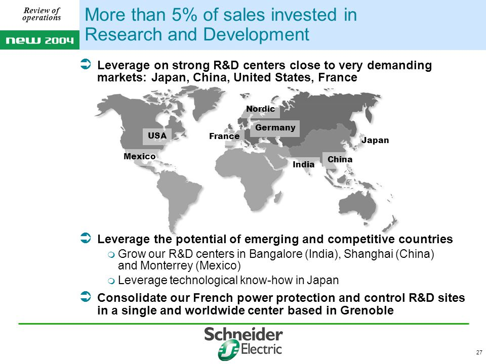 27 Review of operations More than 5% of sales invested in Research and Development  Leverage on strong R&D centers close to very demanding markets: Japan, China, United States, France  Leverage the potential of emerging and competitive countries  Grow our R&D centers in Bangalore (India), Shanghai (China) and Monterrey (Mexico)  Leverage technological know-how in Japan  Consolidate our French power protection and control R&D sites in a single and worldwide center based in Grenoble USA Japan China Nordic France Mexico India Germany